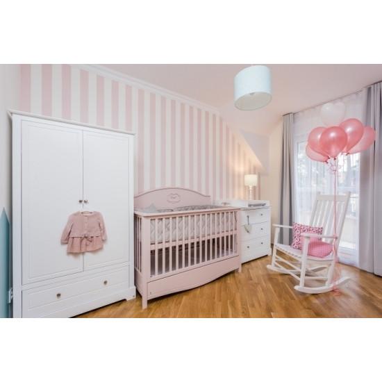 Good Night 3in1- Bērnu gultiņa / jauniešu gulta / dīvāns, 70x140cm ar atvilkni (flamingo)