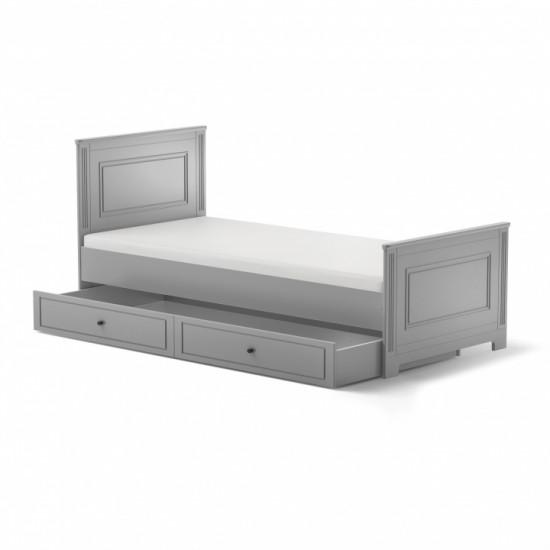 Ines - Bērnu gulta 90x200cm ar atvilkni (pelēks)