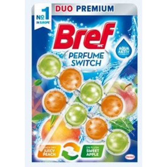 BREF power aktiv sweet juicy peach-red apple tualetes bloks, 2*50g