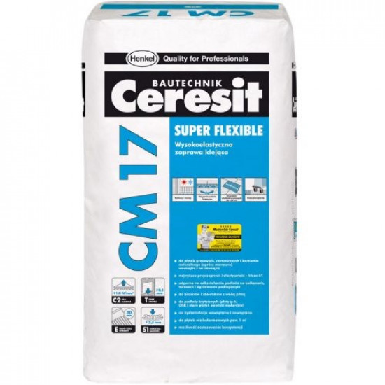 Ceresit īpaši elastīga flīžu līme CM17 SUPER FLEXIBLE, 25kg