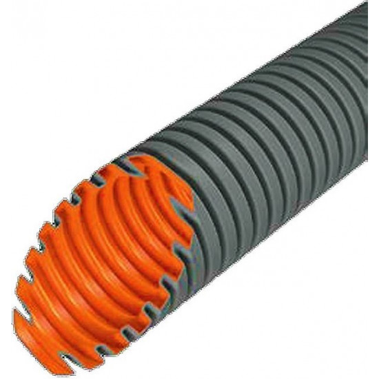Evopipes gofrēta caurule ar stiepli D=20mm 320N 50m pelēka EVOEL FL-0H-SMART