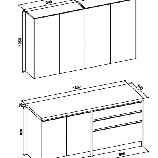 Virtuves komplekts Halmar Idea 180 (ozola fasāde)