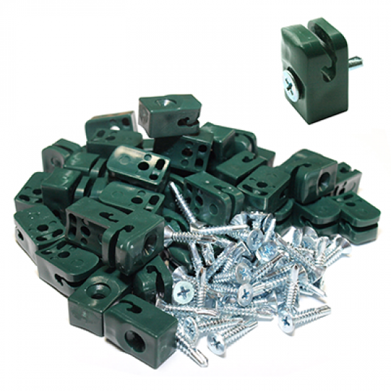 Plastmasas klipši ar skrūvi RAL 6005,  ruļļu žogiem