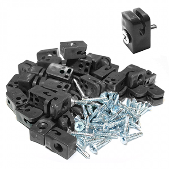 Plastmasas klipši ar skrūvi RAL 9005,  ruļļu žogiem