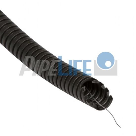 Gofrēta caurule ar stiepli D=16mm 750N 50m, UV noturīga, melna (Pipelife)