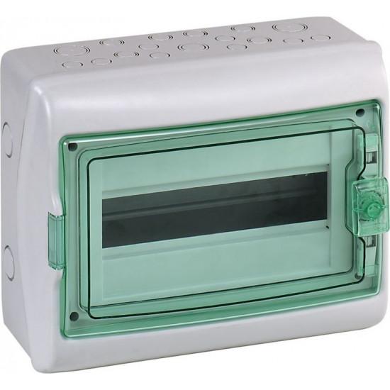 SCHNEIDER ELECTRIC virsapmetuma (v/a) sadales skapis ar caurspīdīgām durvīm Kaedra 12 moduļu, pelēks IP65