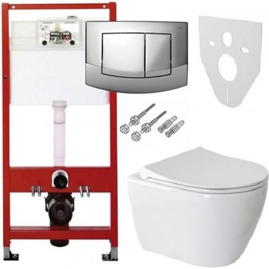 TECE ula iebūvējamais rāmis ar WC un s/c vāku komplektā