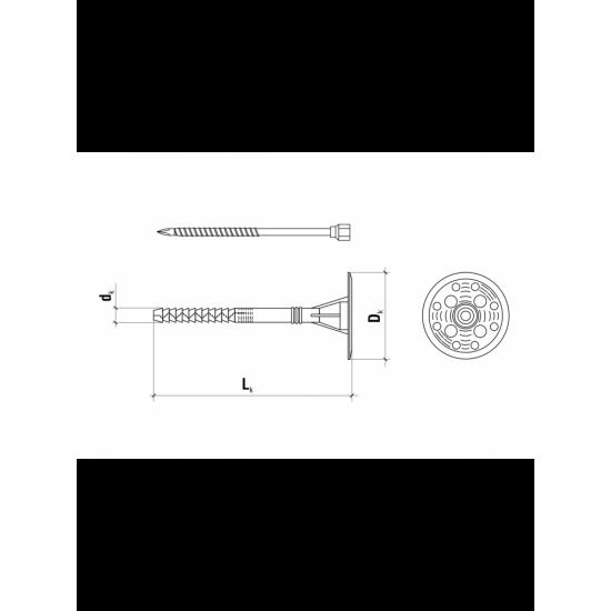 Fasādes izolācijas dībelis Wkret-met ar metāla naglu 10x140mm, (garā izplešanās zona)